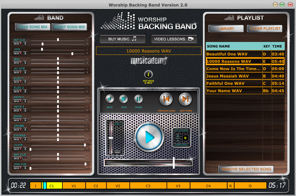 MultiTrack Backing Track Player for Mac or PC Musicademy